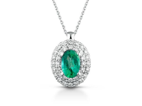 Collana Donna Pg Gioielli In Oro Bianco 18 Kt Con Smeraldo Verde Pendente 0.33 Ct E Diamanti 0.16 Kt