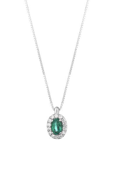 Collana Donna Pg Gioielli In Oro Bianco 18 Kt Con Smeraldo Verde Pendente 0.35 Ct E Diamanti 0.14 Kt