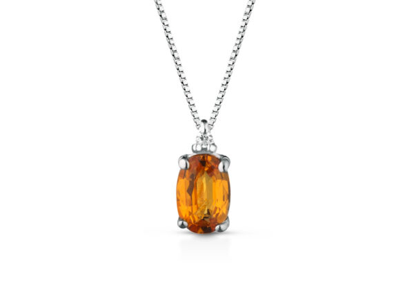Collana Donna Pg Gioielli In Oro Bianco 18 kt Con Zaffiro Arancione 0.60 Ct Pendente E Diamanti 0.013 Kt