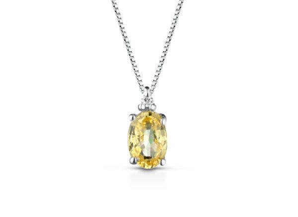 Collana Donna Pg Gioielli In Oro Bianco 18 kt Con Zaffiro Giallo 0.60 Ct Pendente E Diamanti 0.013 Kt