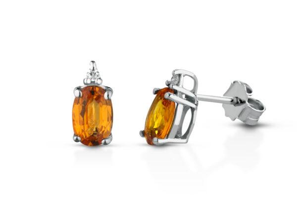 Orecchini Donna Pg Gioielli In Oro Bianco 18 kt Con Zaffiro Arancione 1.20 Ct E Diamanti 0.026 Kt