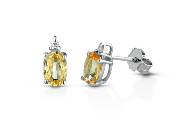 Orecchini Donna Pg Gioielli In Oro Bianco 18 kt Con Zaffiro Giallo 1.20 Ct E Diamanti 0.026 Kt