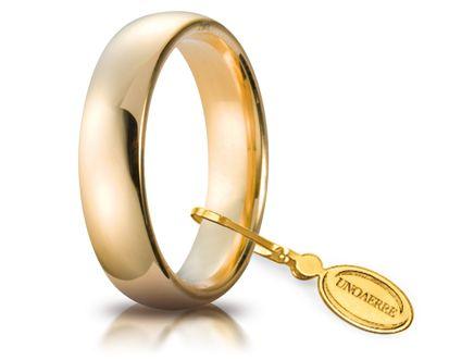 Fede Nuziale Comoda Unoaerre In Oro Giallo 18 Kt 4 Mm