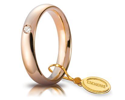 Fede Nuziale Comoda Unoaerre In Oro Rosa 18 Kt 4 Mm Con Diamante