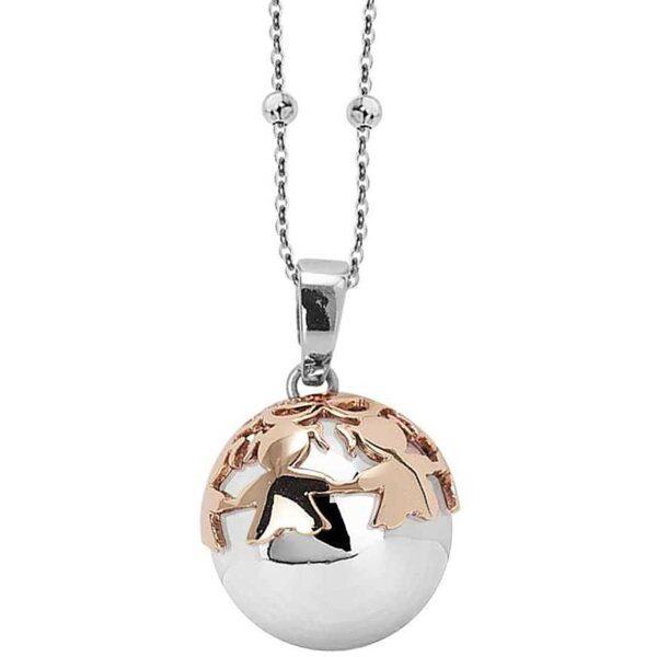 Collana Donna Mya Boccadamo Chiama Angeli In Bronzo Rodiato Con Ciondolo Sonoro Decorato E Placcato Oro Rosa